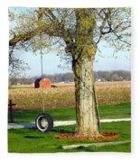 Tree Tire Swing  Fleece Blanket