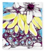 Tired Turtle With Bananas And Blooms Fleece Blanket