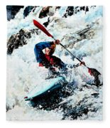 To Conquer White Water Fleece Blanket
