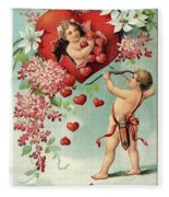 To My Valentine Vintage Romantic Greetings Fleece Blanket
