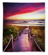 To The Beach Early Morning Watercolor Painting Fleece Blanket
