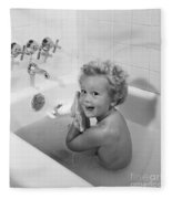 Toddler In Bath, 1950s Fleece Blanket