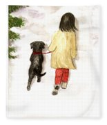 Together - Black Labrador And Woman Walking Fleece Blanket