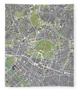 Tokyo City Map Engraving Fleece Blanket