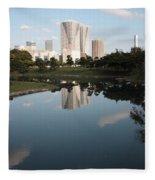 Tokyo Highrises With Garden Pond Fleece Blanket