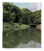 Tokyo Japanese Garden Fleece Blanket