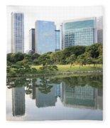 Tokyo Skyline Reflection Fleece Blanket