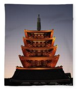 Tokyo Temple Lights At Dusk Fleece Blanket