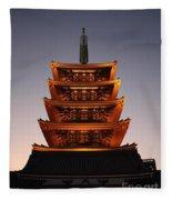 Tokyo Temple Lights Fleece Blanket