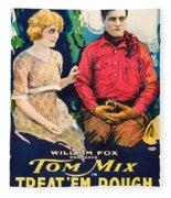 Tom Mix In Treat'em Rough 1919 Fleece Blanket