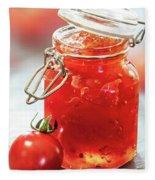 Tomato Jam In Glass Jar Fleece Blanket