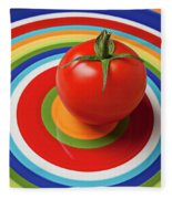 Tomato On Plate With Circles Fleece Blanket