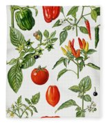 Tomatoes And Related Vegetables Fleece Blanket