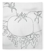 Tomatoes On A Vine In One Line Fleece Blanket