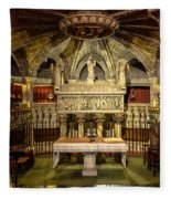 Tomb Of Saint Eulalia In The Crypt Of Barcelona Cathedral Fleece Blanket