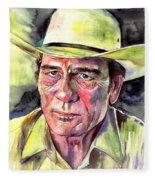 Tommy Lee Jones Portrait Watercolor Fleece Blanket
