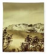 Toned View Of A Snowy Mount Gell, Tasmania Fleece Blanket