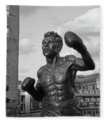 Tony Demarco Boxer Statue North End Boston Ma Sunset Black And White Fleece Blanket
