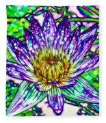 Top View Of A Beautiful Purple Lotus Fleece Blanket