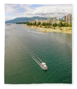 Top View Of English Bay In Summer, Vancouver Bc. Fleece Blanket
