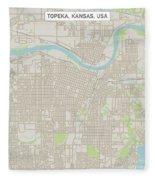 Topeka Kansas Us City Street Map Fleece Blanket