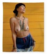topless Black Hmong 2 Fleece Blanket