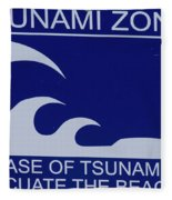 Topsail Island's Tsunami Zone Sign Fleece Blanket