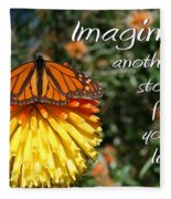 Torch Lily And Monarch Fleece Blanket