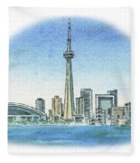 Toronto Canada City Skyline Fleece Blanket