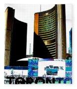 Toronto City Hall Graphic Poster Fleece Blanket