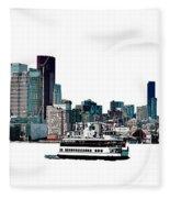 Toronto Portlands Skyline With Island Ferry Fleece Blanket