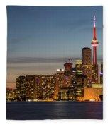 Toronto Skyline At Dusk Fleece Blanket