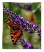 Tortoiseshell Butterfly On Lavender Fleece Blanket
