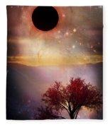 Total Eclipse Of The Sun Tree Art Fleece Blanket