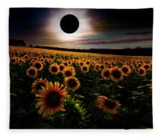 Total Eclipse Over The Sunflower Field Fleece Blanket