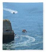Tourist Boats And Cliffs In Algarve Fleece Blanket