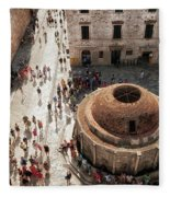 Tourists At Dubrovnik's Onofrio's Fountain Fleece Blanket