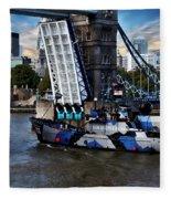 Tower Bridge And Boat Fleece Blanket