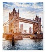 Tower Bridge In London, The Uk At Sunset. Drawbridge Opening Fleece Blanket