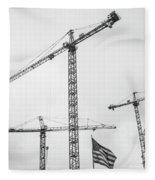 Tower Cranes Bw Construction Art Fleece Blanket