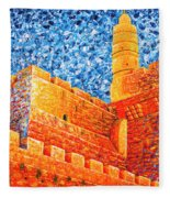 Tower Of David At Night Jerusalem Original Palette Knife Painting Fleece Blanket