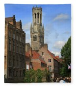 Tower Of The Belfrey From The Canal At Rozenhoedkaai Fleece Blanket