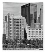 Tower Over Pittsburgh In Black And White Fleece Blanket
