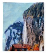 Towering Cliffs And Houses Fleece Blanket