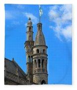 Towers Of The Town Hall In Bruges Belgium Fleece Blanket