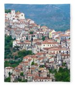 Town Clinging To A Hill Top In Southern Italy Fleece Blanket