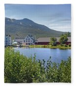 Town Square By The Pond At Waterville Valley Fleece Blanket