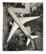 Toy Airplane Vintage Travel Fleece Blanket