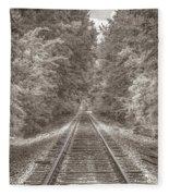 Tracks Bw Fleece Blanket