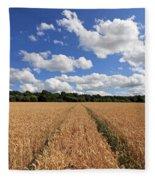 Tracks Through Wheat Field Fleece Blanket